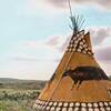 Black Buffalo Tipi. Siksika camp. Montana. Early 1900s. Glass lantern slide by Walter McClintock. So