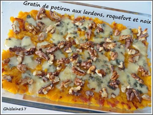 Gratin de potiron aux lardons, roquefort et noix
