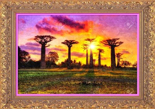 Dessin et peinture - vidéo 2497 : Le mixed media - exemple sur une toile représentant des baobabs.