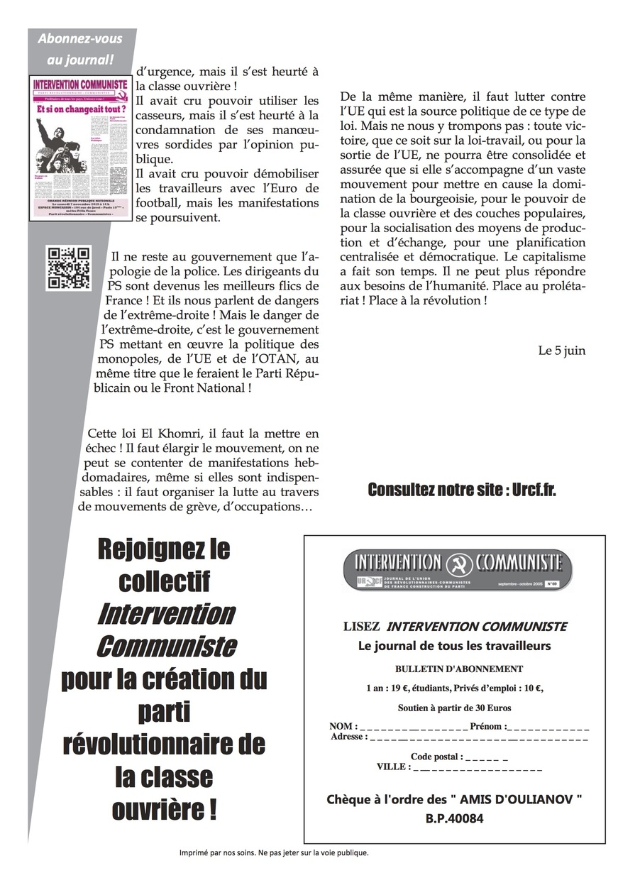 - LOI TRAVAIL : ON LÂCHE RIEN... ON CONTINUE JUSQU'À LA VICTOIRE !!!