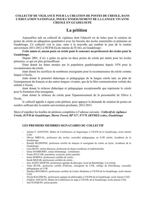 Collectif de vigilance pour la création de postes de créoles : la pétition
