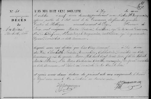 Acte de décès de (Marie) Elisabeth Antoine le 6 oct 1860