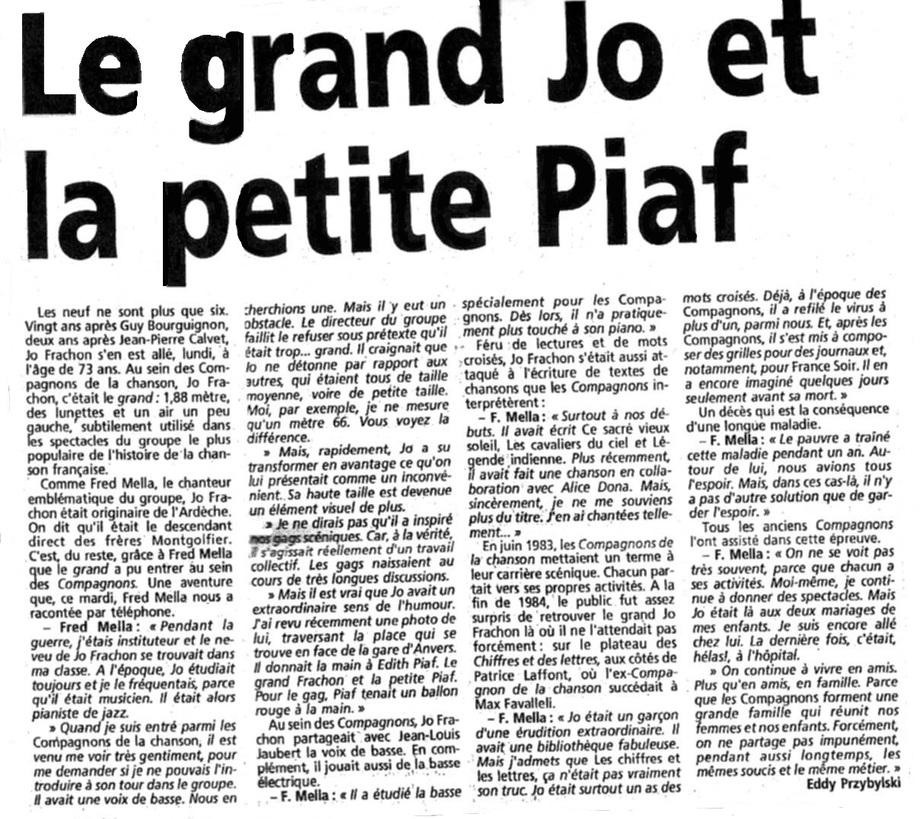 Le 10 février 1992, nous perdions le grand Jo...