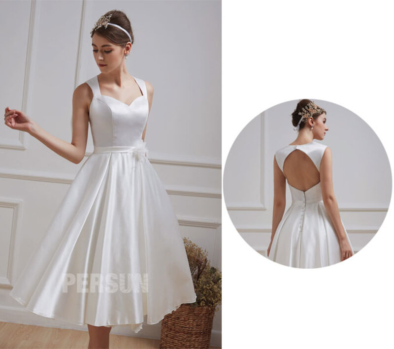 robe de mariée civil midi dos découpé