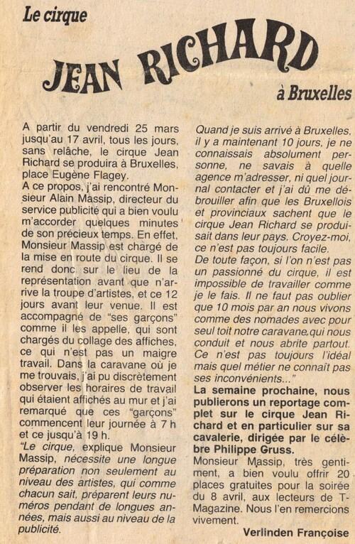 le cirque Jean Richard à Bruxelles en 1983, compagne promotionnelle avec Alain Massip