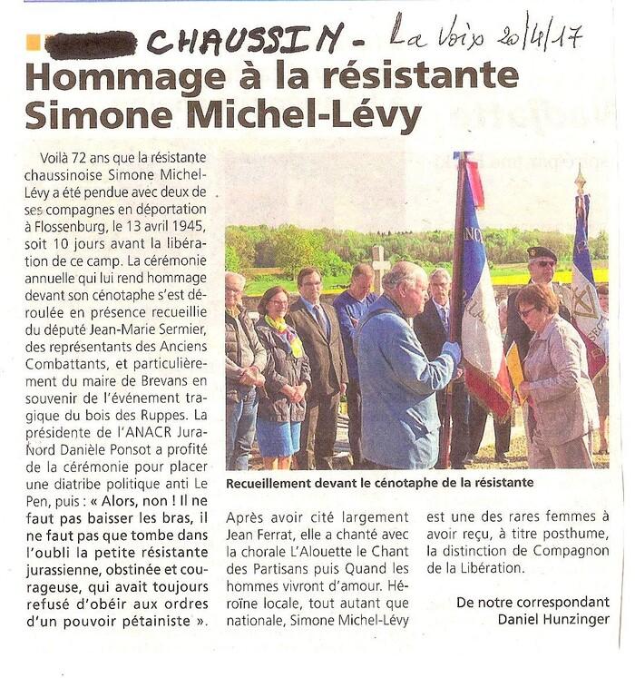 Soixante-douzième Anniversaire  de la mort de Simone Michel-Lévy, 13 avril 2017.