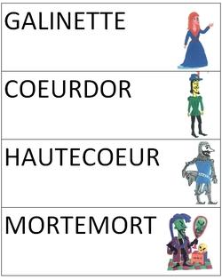 """Dictionnaire de lecture """"L'histoire du chevalier Coeurdor"""""""