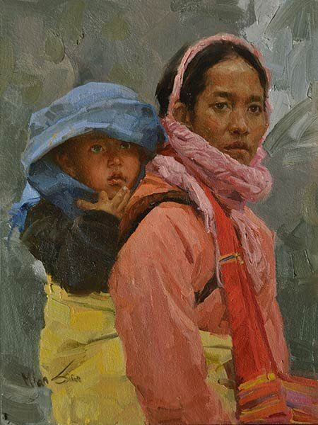 "Fine Art Connoisseur - Mian Situ, ""Protection,"" oil0, 9 x 12:"