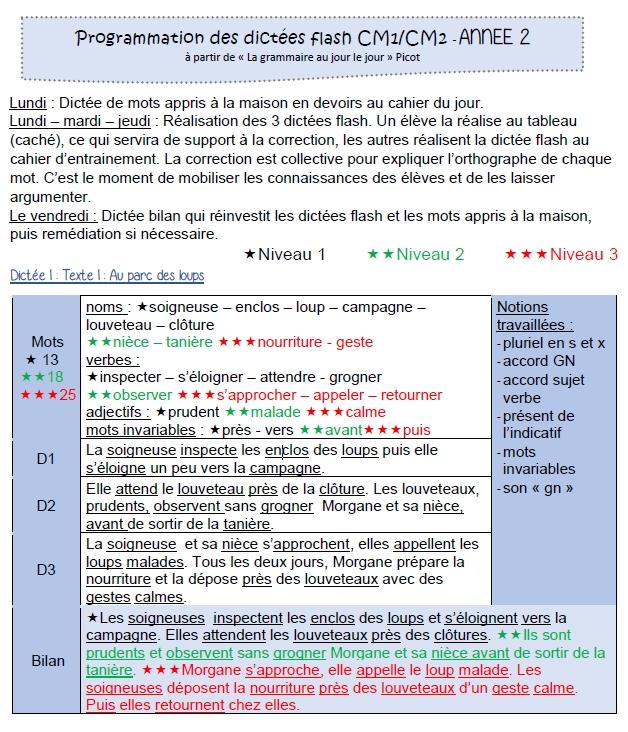 Dictees Flash En Lien Avec Le Tome 2 Grammaire Au Jour Le Jour De F Picot Chez Nathan Chez Val 10