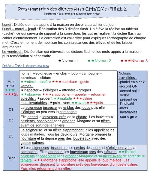 """Dictées flash en lien avec le Tome 2 """"grammaire au jour le jour"""" de F.Picot chez Nathan"""
