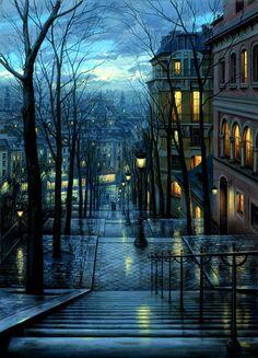 La nuit tombe sur la ville ...