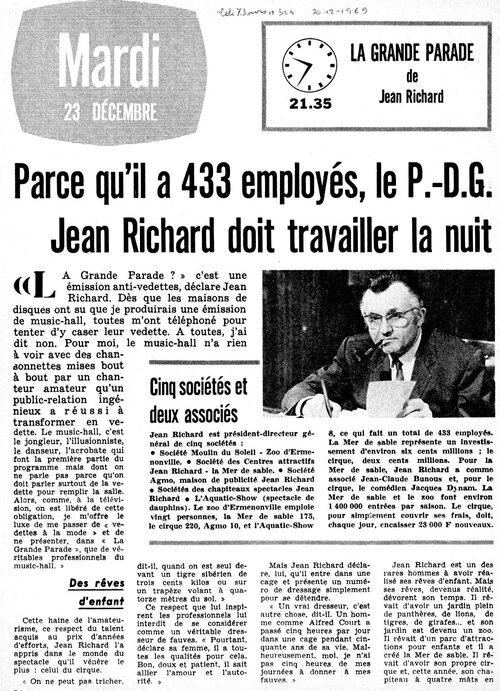 article paru dans Télé 7 Jours n°504 du 20/2/1969 ( archives J.C.Murat)