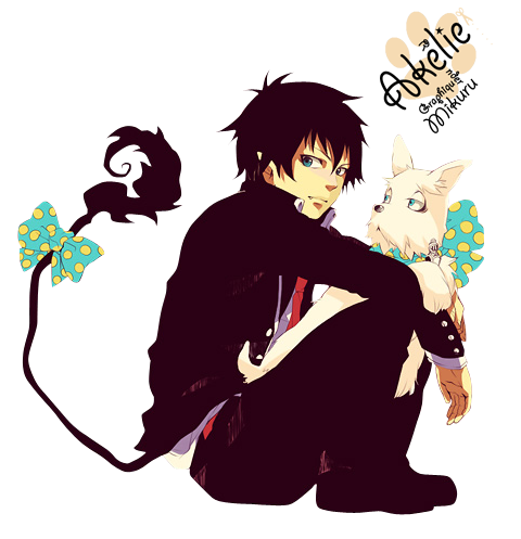 Render Ao no Exorcist - Renders Okumura Rin Blue Exorcist Ao No Futsumachi Exorciste Exorcisme Cheveux Court Noir Yeux Bleu Chien Blanc Noeud Papillon Queue Demon Diable Uniforme Cravate Rouge
