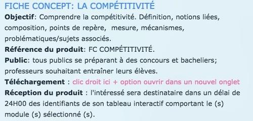 FICHE CONCEPT - LA COMPÉTITIVITÉ