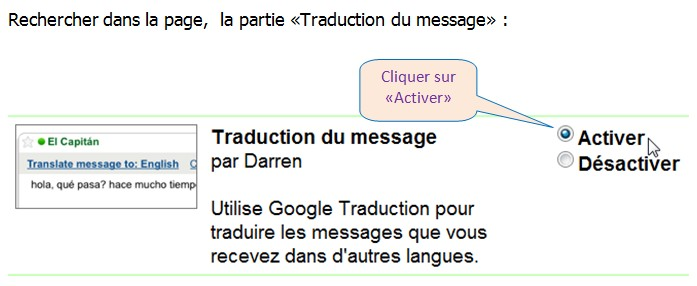 GMAIL LABS – TRADUCTION D'UN MESSAGE RECU EN LANGUE ETRANGERE