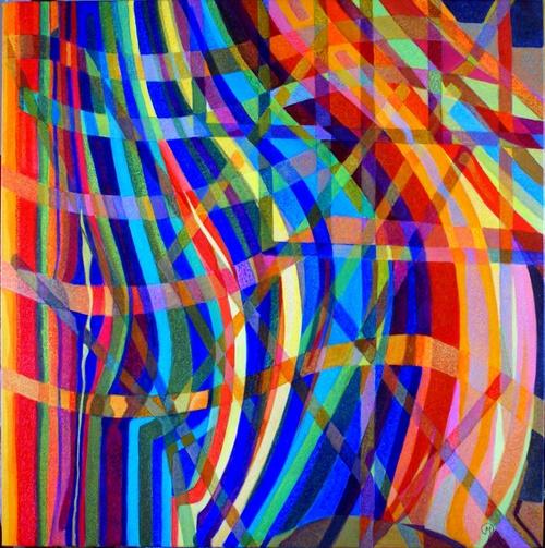 lignes de couleurs huile sur toile 80x80