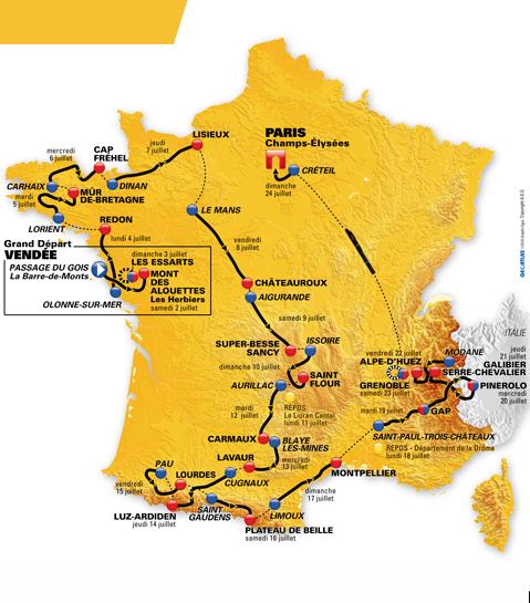 Carte Tour de France 2011