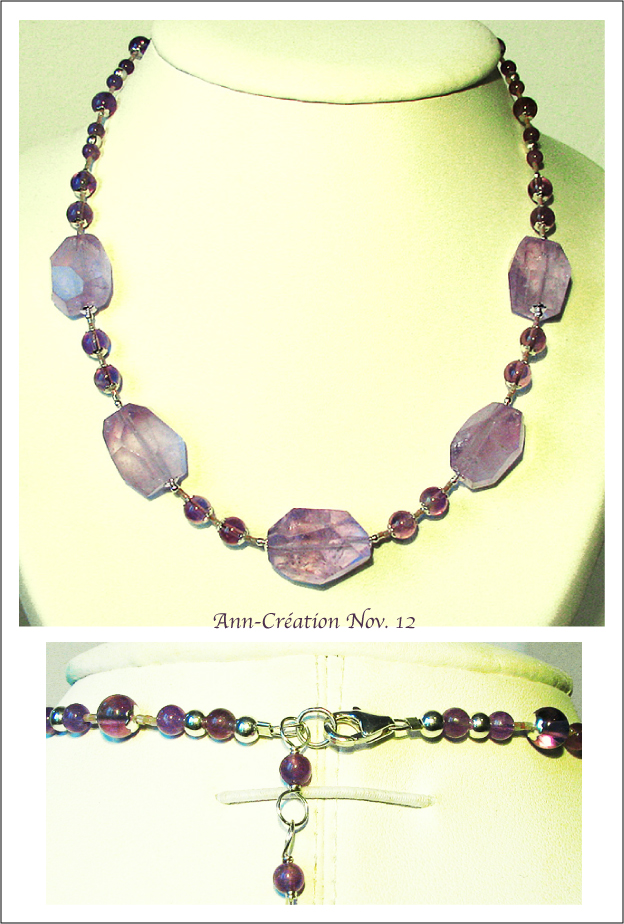 Collier Perles d'Améthyste - Amethyst necklace / Argent 925 Sterling Silver