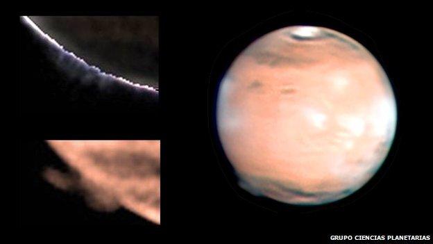 Mars observer plume cloud Nuage 2012