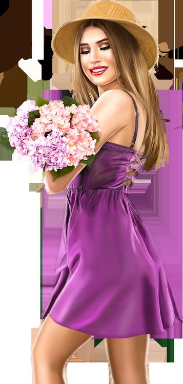 Tubes Femmes en violet