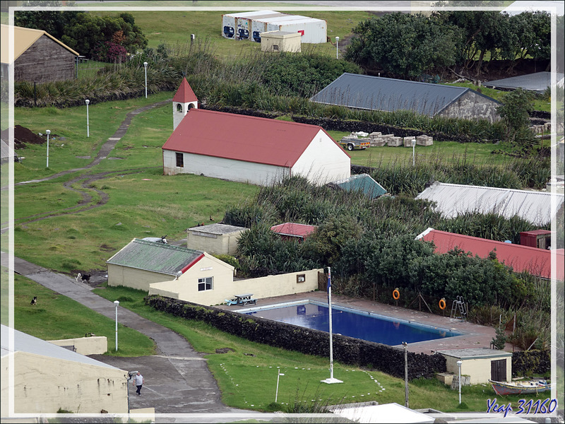 Une des deux églises d'Edinburgh of the Seven Seas (Saint Joseph`s Catholic Church), sa piscine, ses vaches - Tristan da Cunha