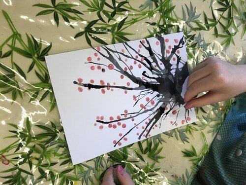 Carte « cerisiers en fleur » et poème pour fêter Pâques et le retour du printemps