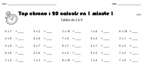 Défi tables de multiplication