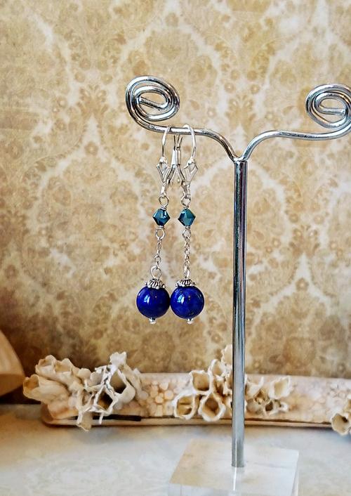 oucles dormeuses longues Pierre lapis-lazuli naturel 8mm et cristal de Swarovski / Argent 925  Natural lapis-lazuli leverback sterling silver earrings