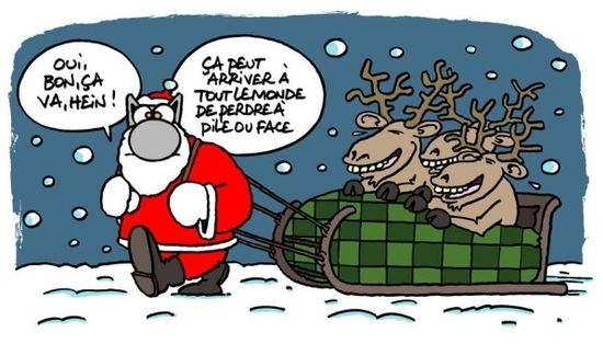 Le-Chat-tire-traineau-de-Noel geluck