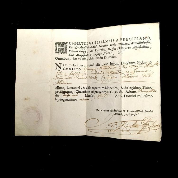 Diplôme de droit canon et de droit civil décerné par l'université de Bologne