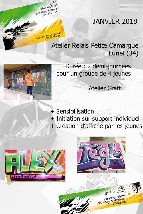 atelier graff initiation au graff sur affichettes pour les jeunes de l'atelier relais de Lunel (34). Janvier 2018 toutes les photos ici http://www.jerc-tbm.com/crbst_5.html