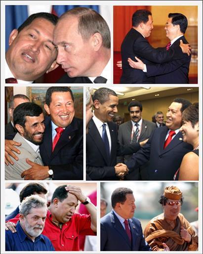 Hugo Chávez se sentait libre et en droit de parler à tous les dirigeants du monde, y compris et surtout à ceux diabolisés par Washington et l'OTAN. Il le faisait d'ailleurs le plus souvent avec bonhommie, et parfois avec des débordements de truculence. C'est certainement cette insoumission à l'ordre atlantiste qui lui valut les foudres des grands médias occidentaux, et qui lui valent encore une opprobre post mortem. De gauche à droite et de haut en bas : avec Vladimir Poutine (Fédération de Russie), Hu Jintao (République Populaire de Chine), Mahmoud Ahmadinejad (République Islamique d'Iran), Barack Obama (États-Unis d'Amérique), Lula da Silva (Brésil) et Mouammar Kadhafi (Jamahiriya arabe libyenne)