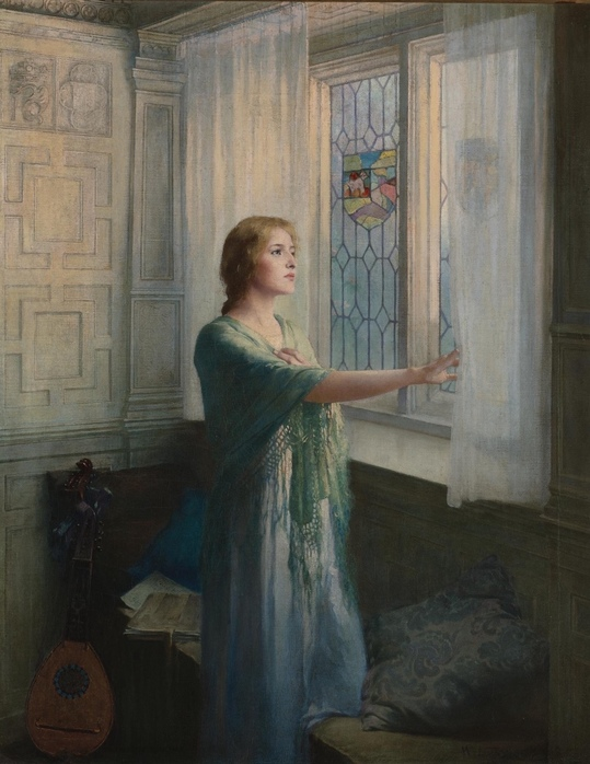 "songesoleil: "" Awaiting his return. Oil on Canvas. 76.5 x 61 cm. Art by William Ladd Taylor.(1854-1926). """