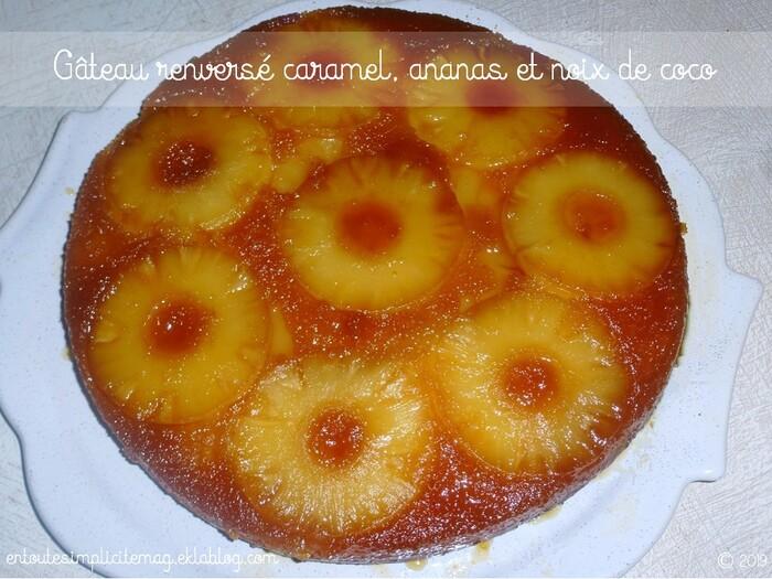 Gâteau renversé caramel, ananas et noix de coco