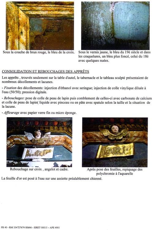 Rapport de restauration du retable de Gigouzac ( extraits)