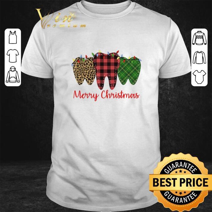 Premium Merry Christmas Leopard Plaid Teeth With Lights Dentist shirt