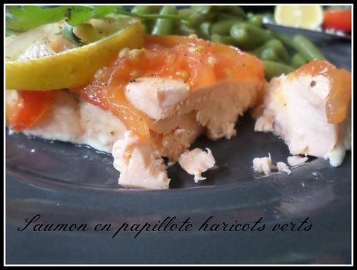 Saumon en papillote et haricots verts