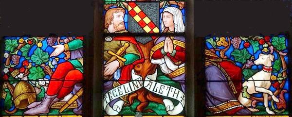Voici quelques vitraux représentant saint Bernard et sa famille ...