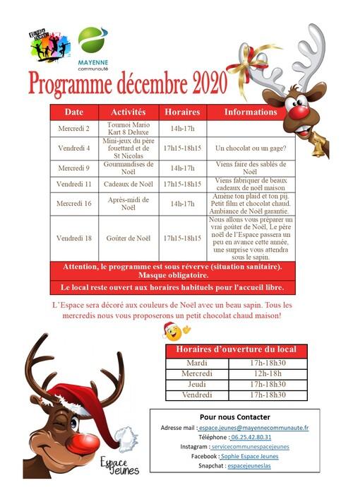Programme Décembre Local Espace Jeunes