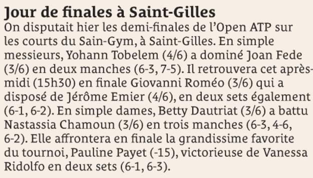 Jour de finales à Saint-Gilles