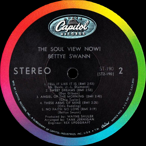 "Bettye Swann : Album "" The Soul View Now ! "" Capitol Records ST 190 [ US ]"
