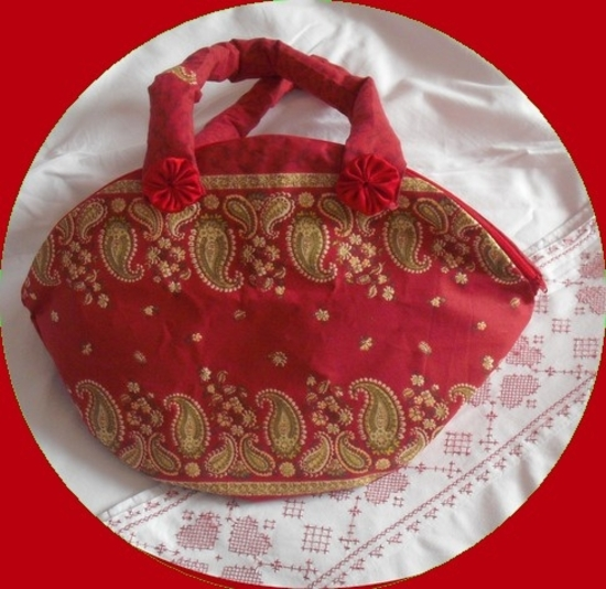 sac calisson cachemire rouge