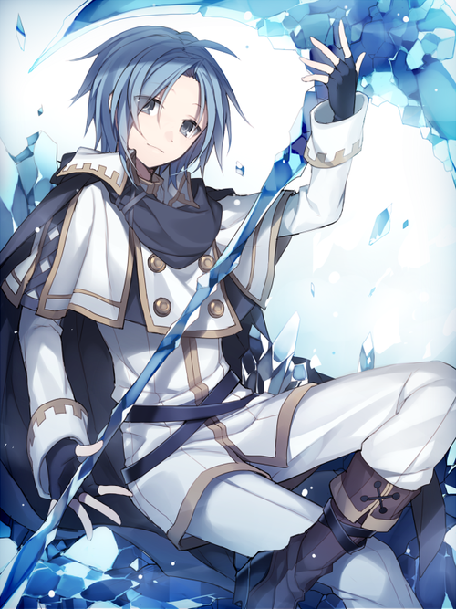 Image de blue hair, scythe, and blue eyes