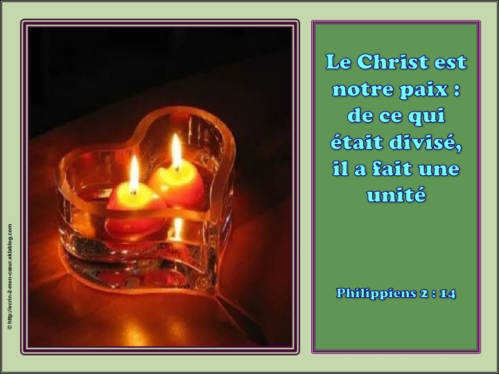 Le Christ est notre paix - Philippiens 2 : 14