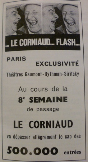 LE CORNIAUD -  LOUIS DE FUNES BOX OFFICE 1965