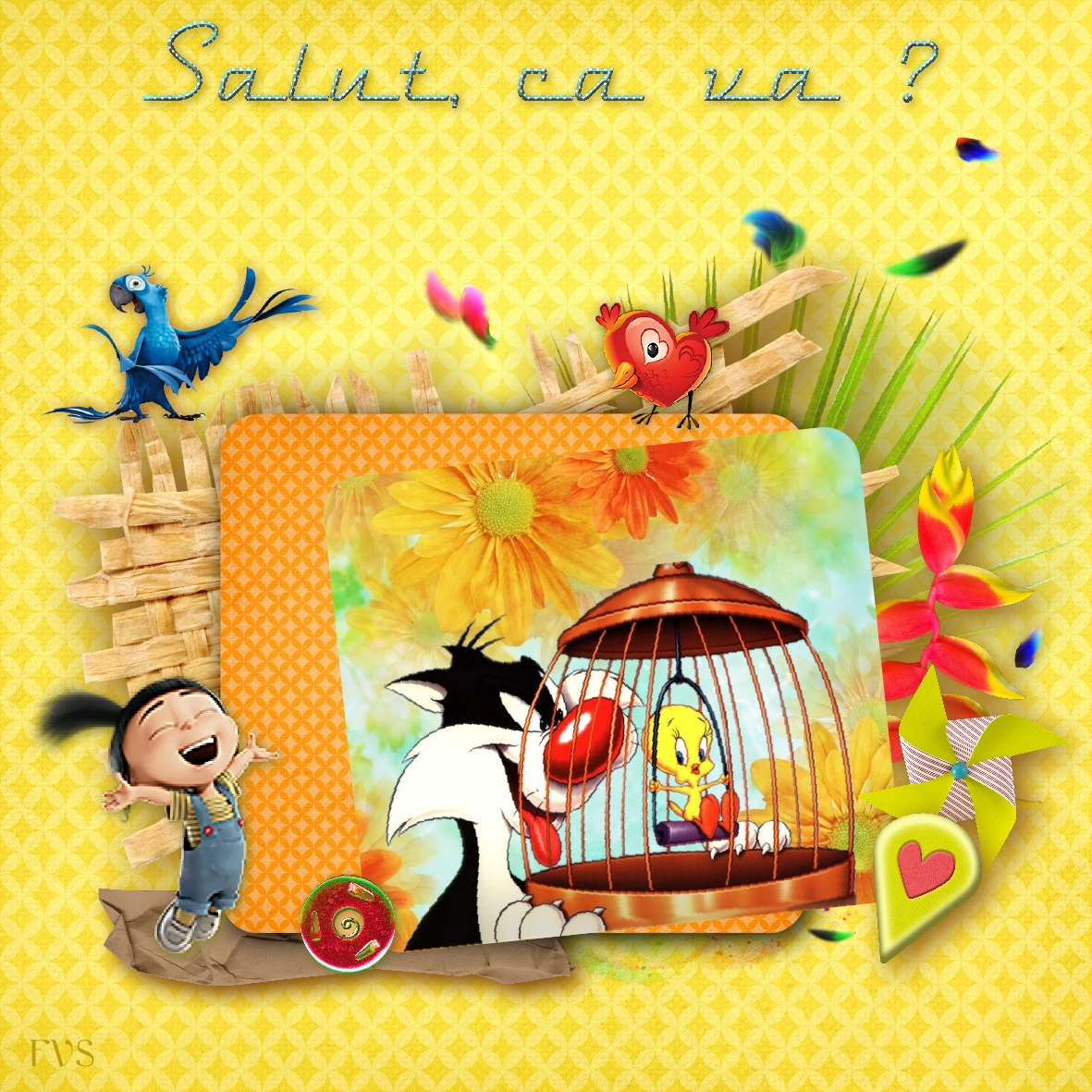 CP-CARTOON002-Salut-Titi et Grosminet-FVS