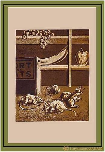 """Linogravure """"Mort aux rats!""""  art animalier - Arts et sculpture: artiste peintre, sculpteur animalier"""