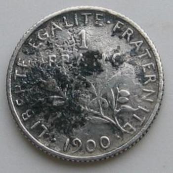 1 franc Semeuse 1900 en argent revers