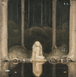 """Le tableau de John Bauer """"Ännu sitter Tuvstarr kvar och ser ner i vattnet"""""""