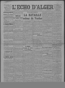 L'Echo d'Alger, 26 mars 1916